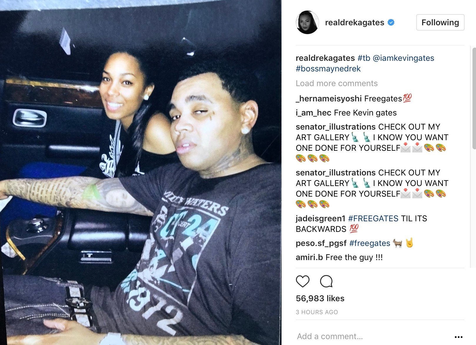After Kevin Gates' Wife Drops Her Top, Dreka Drops His