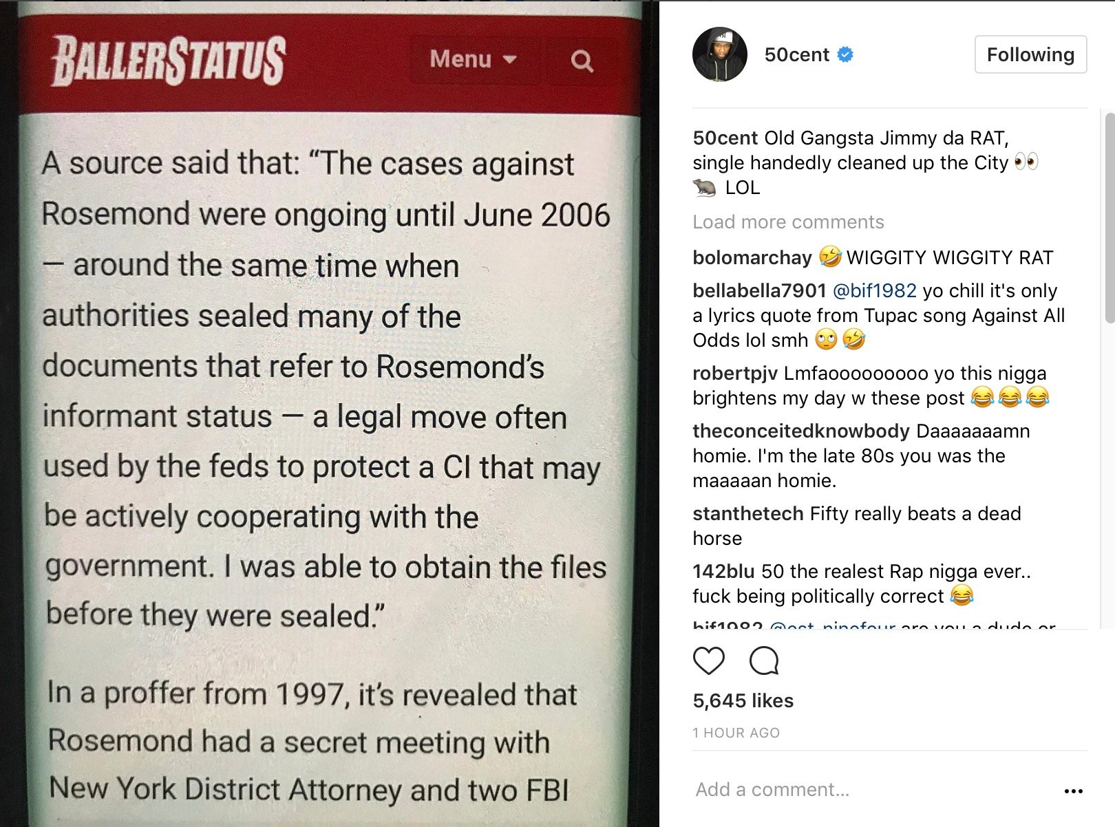 """50 Cent Once Again Flames Jimmy Henchman W/ Rat Accusations: """"No-Snitch Advocate Exposed As Informant"""" –"""