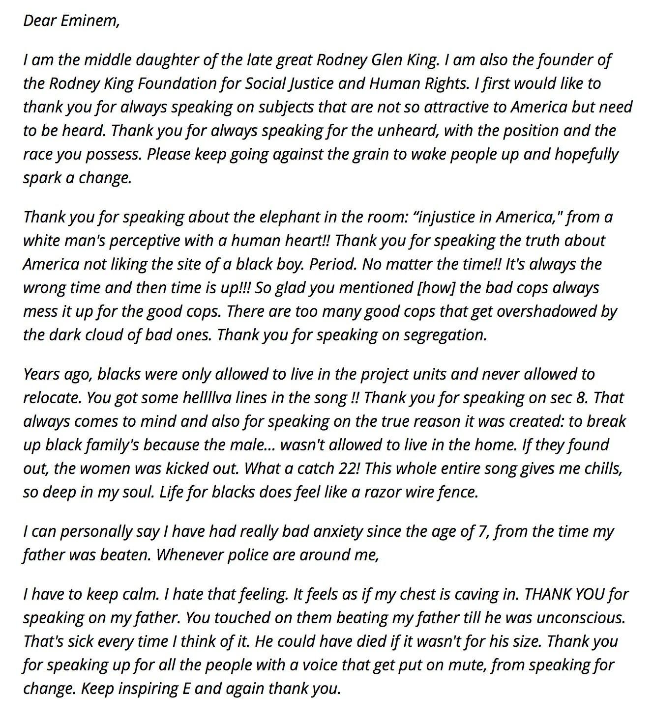 Rodney King's Daughter Reacts To Eminem's REVIVAL Lyrics