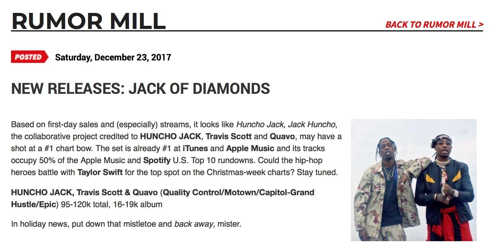 Travis Scott & Quavo's HUNCHO JACK Debut Ahead Of Eminem's REVIVAL, First-Week Sales Revealed –