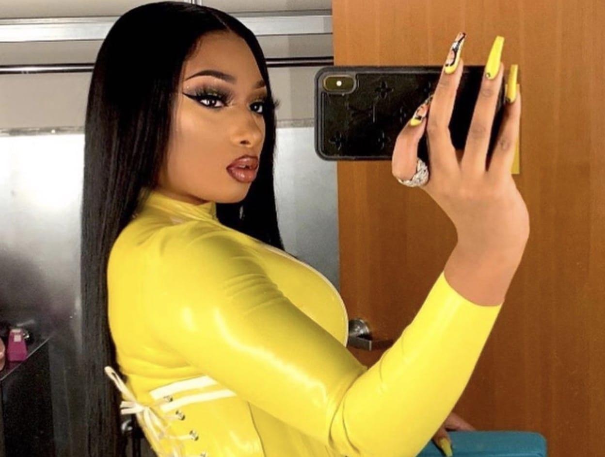 Megan Thee Stallion Yellow Outfit Selfie