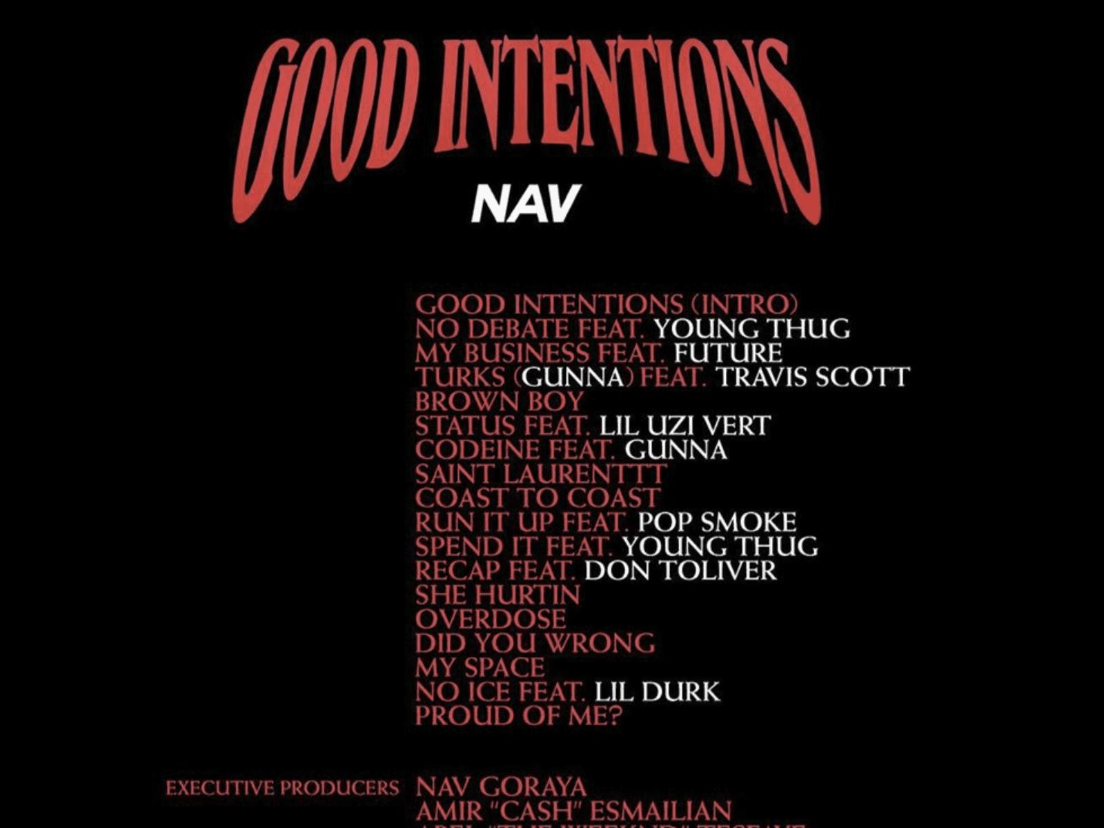 NAV Good Intentions Tracklisting