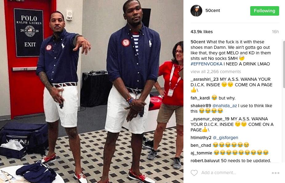 50 Cent Trashes Carmelo Anthony & Kevin Durant's Kicks