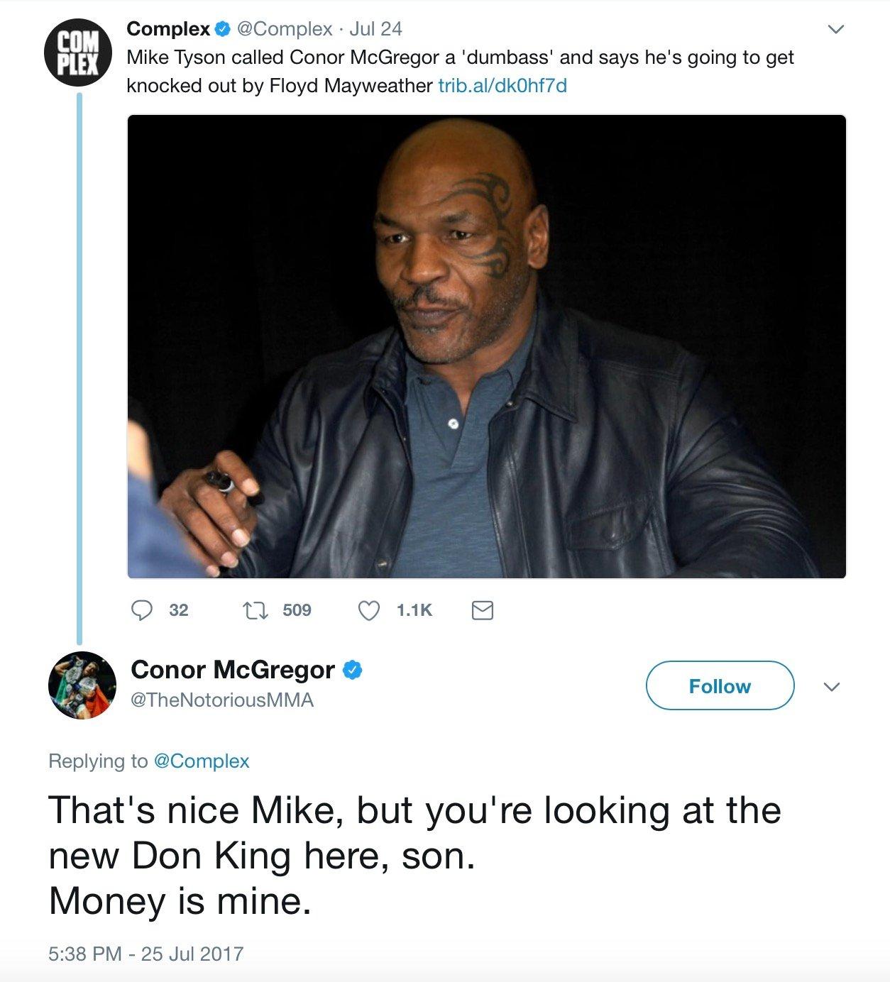 super popular 10117 f6d5c Conor McGregor Responds To Mike Tyson's KO Prediction: